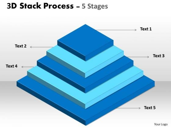 Business Diagram 3d Stack Process With 5 Stages Consulting Diagram