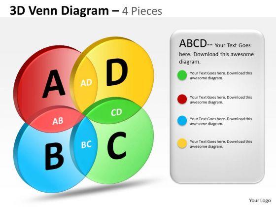 Business Diagram 3d Venn Pieces 4 Marketing Diagram