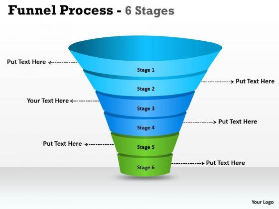 Business Diagram 6 Steps Of Business Process Funnel Diagram Sales Diagram
