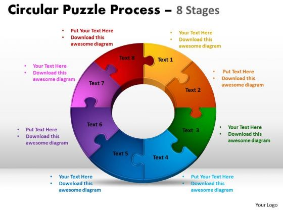 Business Diagram 8 Components Circular Puzzle Process Strategy Diagram