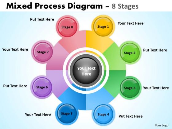Business Diagram 8 Stages Mixed Process Diagram For Business Strategic Management