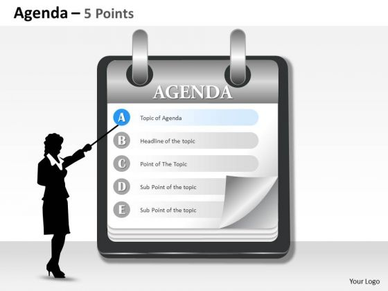 Business Diagram Agenda 5 Points Strategy Diagram