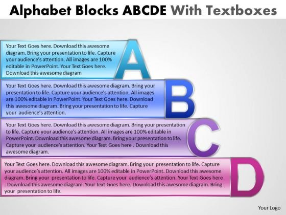 Business Diagram Alphabet Blocks Abcd With Textboxes Strategy Diagram