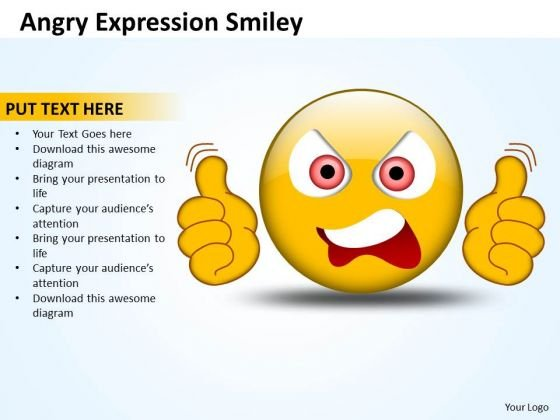 Business Diagram Angry Expression Smiley Sales Diagram