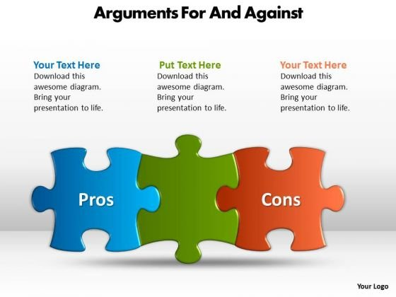 Business Diagram Arguments For And Against