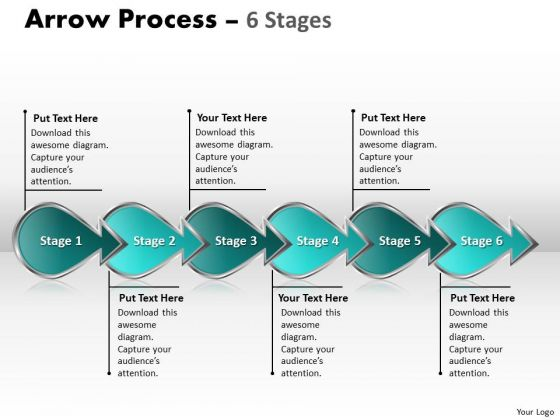 Business Diagram Arrow Process 6 Stages 4 Business Finance Strategy Development
