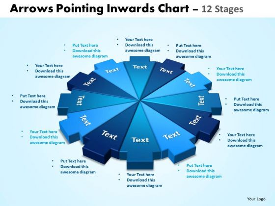 Business Diagram Arrows Pointing Inwards Chart 12 Stages Editable Sales Diagram