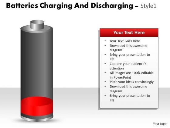 Business Diagram Batteries Charging And Discharging Style 1 Strategy Diagram