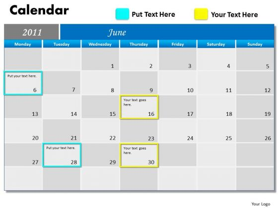 Business Diagram Blue Calendar 2011 Marketing Diagram