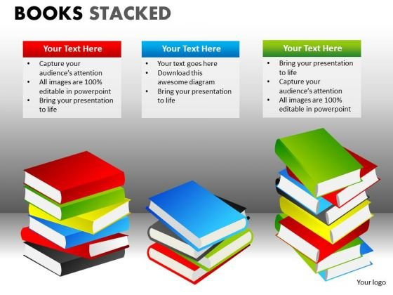 Business Diagram Books Stacked Consulting Diagram