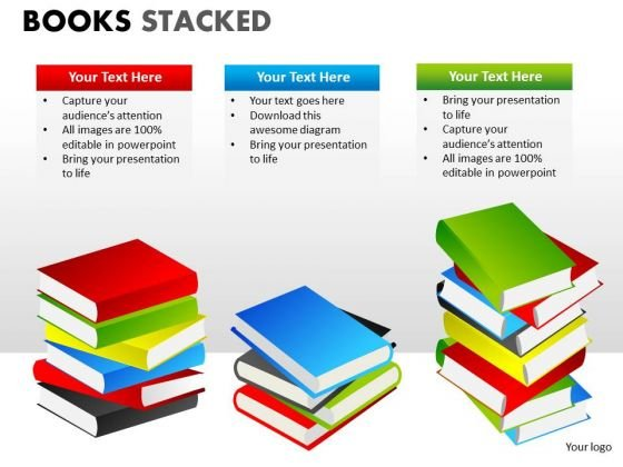 Business Diagram Books Stacked Strategy Diagram