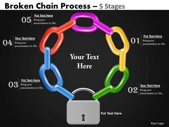 Business Diagram Broken Chain Process 5 Stages Business Cycle Diagram