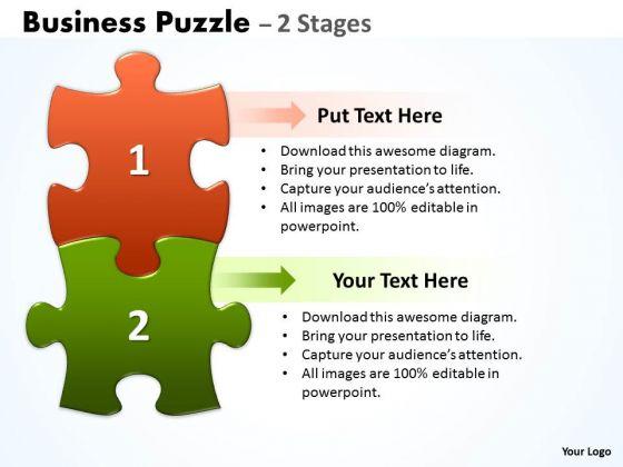 Business Diagram Business Puzzle 2 Stages Sales Diagram