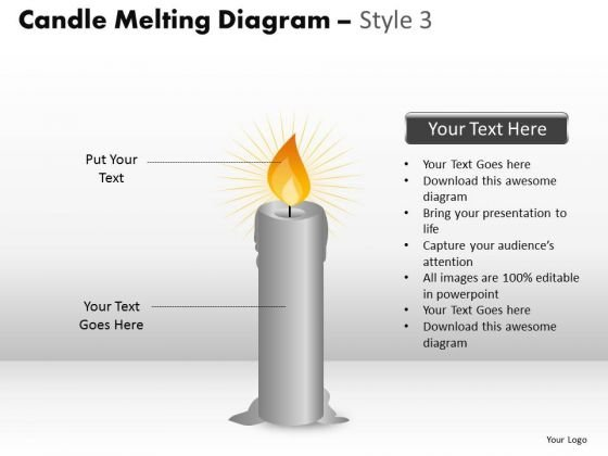Business Diagram Candle Melting Diagram Style 3 Consulting Diagram