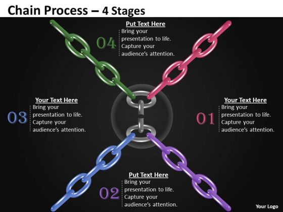 Business Diagram Chain Process 4 Stages Sales Diagram