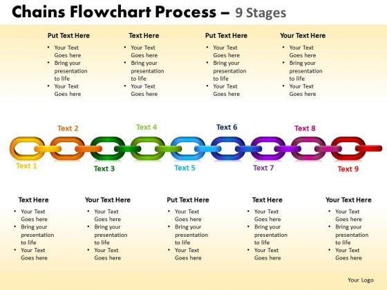 Business Diagram Chains Flowchart Process Diagram 9 Stages Sales Diagram