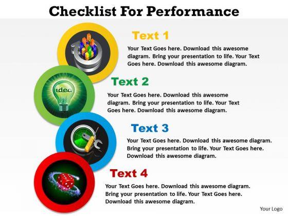 Business Diagram Checklist For Performance Marketing Diagram