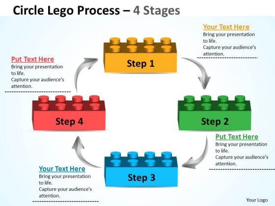 Business Diagram Circle Lego Process 4 Stages Sales Diagram