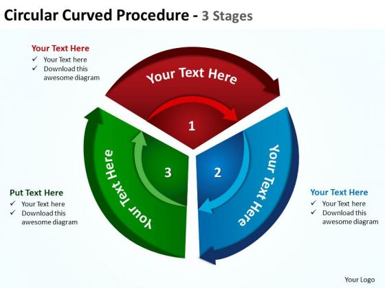 Business Diagram Circular Curved Procedure 3 Stages 5 Sales Diagram