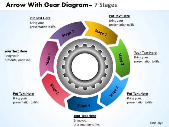 Business Diagram Circular Flow Chart With Gears Planning Process 7 Stages Marketing Diagram
