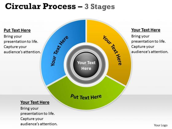 Business Diagram Circular Flow Chart With Hub 3 Stages Marketing Diagram