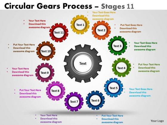 Business Diagram Circular Gears Flowchart Process Diagram Stages 11 Sales Diagram