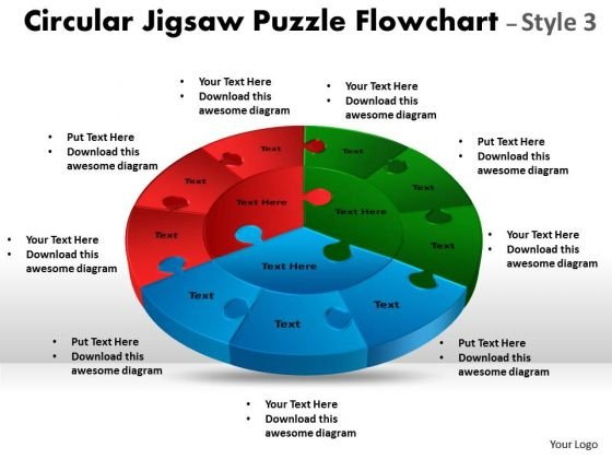 Business Diagram Circular Jigsaw Puzzle Flowchart Templates Process Diagram Style Sales Diagram