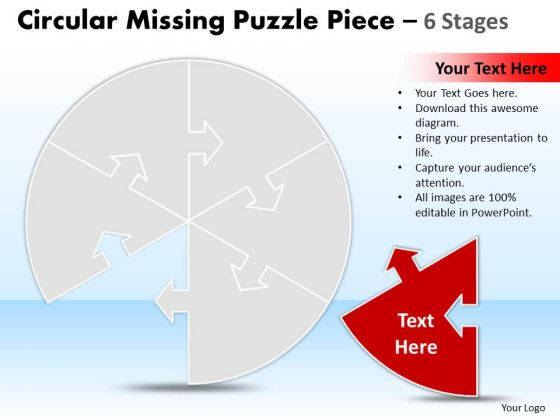 Business Diagram Circular Missing Puzzle Piece 6 Stages Business Cycle Diagram