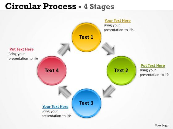 Business Diagram Circular Process 4 Stages Strategy Diagram