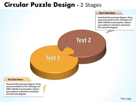 Business Diagram Circular Puzzle Design 2 Stages PowerPoint Ttemplates Marketing Diagram