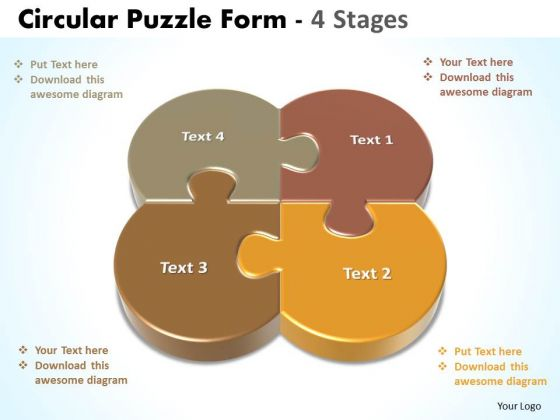 Business Diagram Circular Puzzle Form 4 Stages Sales Diagram