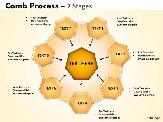 Business Diagram Comb Process 7 Stages Sales Diagram