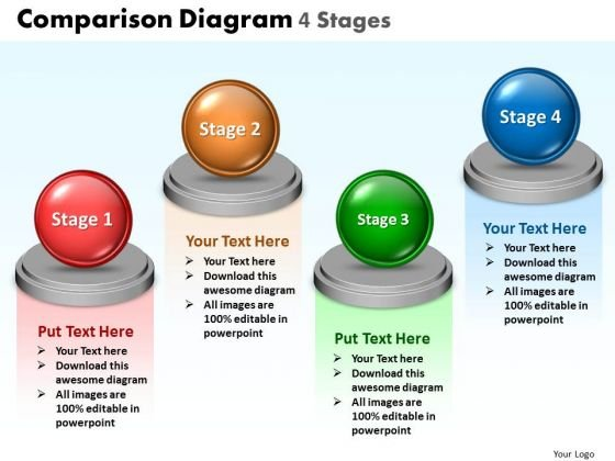 Business Diagram Comparison Diagram 4 Stages Sales Diagram