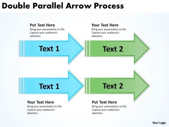 Business Diagram Double Parallel Arrow Process Marketing Diagram