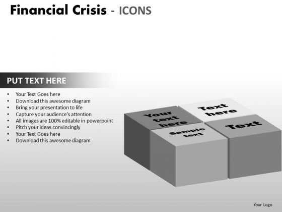 Business Diagram Financial Crisis Icons Strategic Management