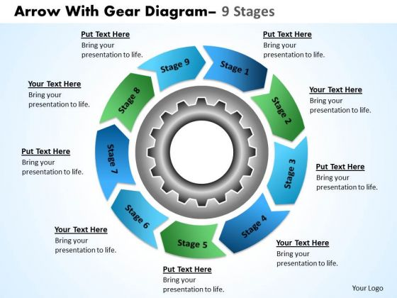Business Diagram Gear Planning Process With Cirular Flow Chart 9 Stages Sales Diagram