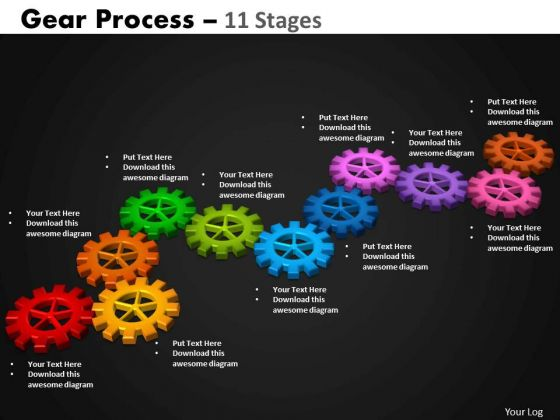 Business Diagram Gears Process 11 Stages Sales Diagram