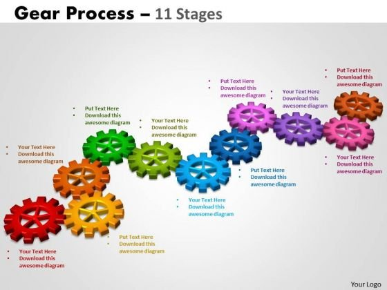 Business Diagram Gears Process 11 Stages Strategic Management