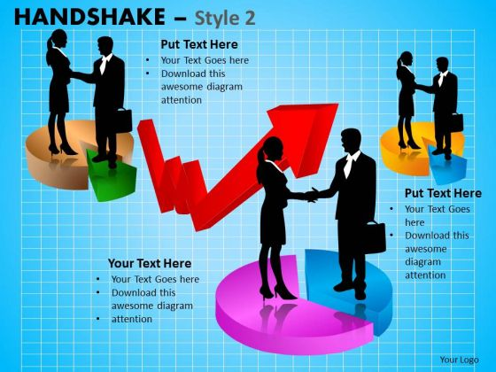 Business Diagram Handshake Style 2 Business Cycle Diagram