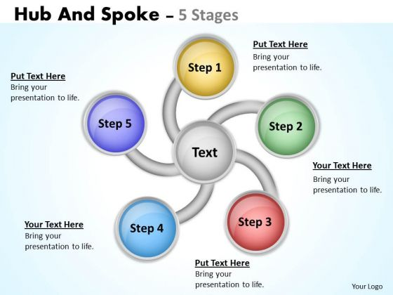 Business Diagram Hub And Spoke 5 Stages Sales Diagram