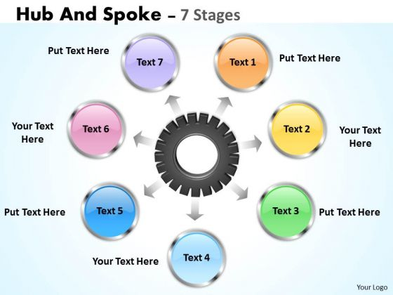 Business Diagram Hub And Spoke 7 Stages Sales Diagram
