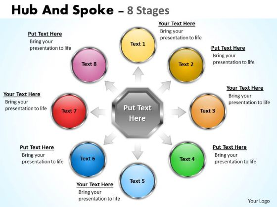 Business Diagram Hub And Spoke 8 Stages Sales Diagram