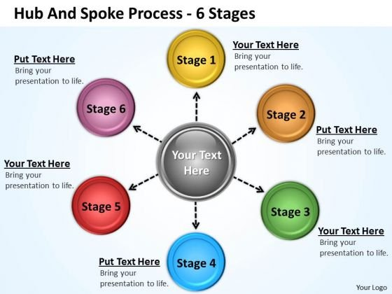 Business Diagram Hub And Spoke Process 6 Stages Strategic Management