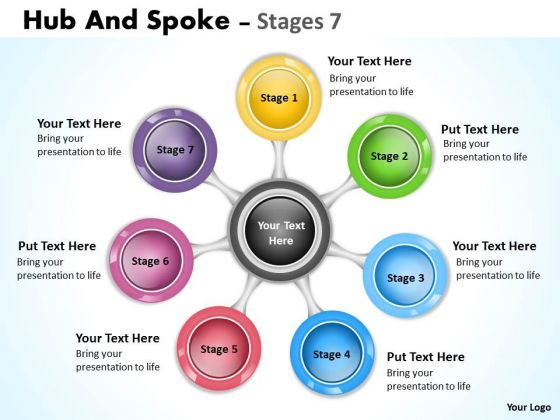 Business Diagram Hub And Spoke Stages Sales Diagram