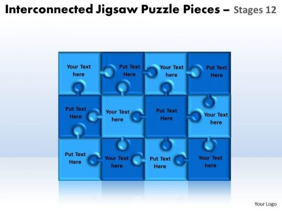 Business Diagram Interconnected Jigsaw Puzzle Pieces Stages 12 Sales Diagram