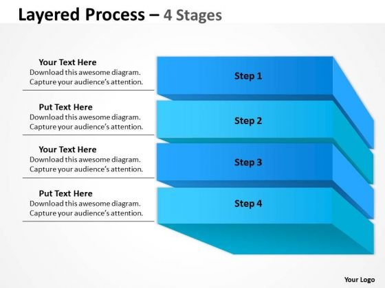 Business Diagram Layered Process 4 Stages Diagram Sales Diagram