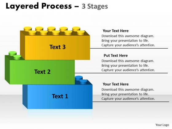 Business Diagram Layered Process Diagram 3 Stages Marketing Diagram