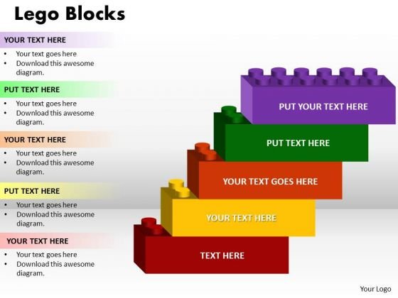 Business Diagram Lego Blocks 5 Strategy Diagram