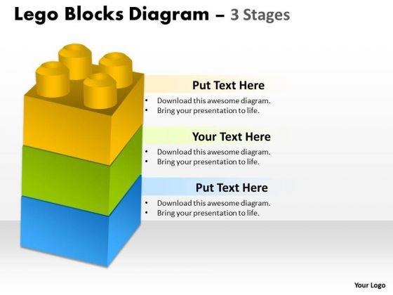 Business Diagram Lego Blocks Diagram 3 Stages Consulting Diagram