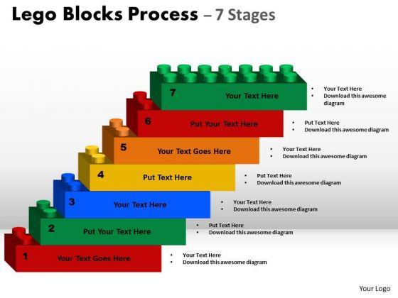 Business Diagram Lego Blocks Process 7 Stages Marketing Diagram